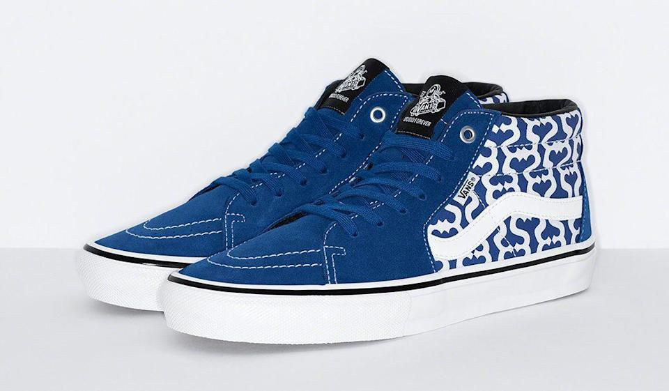 The Supreme x Vans Skate Grosso Mid in blue. - Credit: Courtesy of Supreme