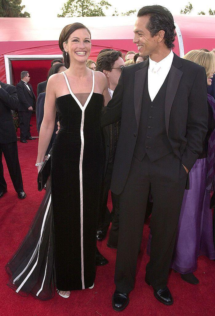 <p>The Pretty Woman star accepted the Best Actress Award for Erin Brockovich in a monochrome Valentino dress from 1992.</p>