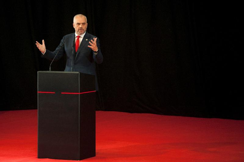 The ruling left-wing coalition of Prime Minister Edi Rama, who is seen here on November 11, 2014, won local elections in Albania, according to results