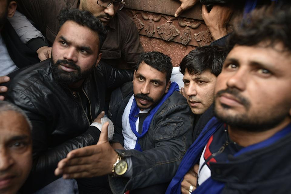 NEW DELHI, INDIA - DECEMBER 20: Bhim Army chief Chandrashekhar Azad during a protest against CAA, at Jama Masjid on December 20, 2019 in New Delhi, India. (Photo: Hindustan Times via Getty Images)