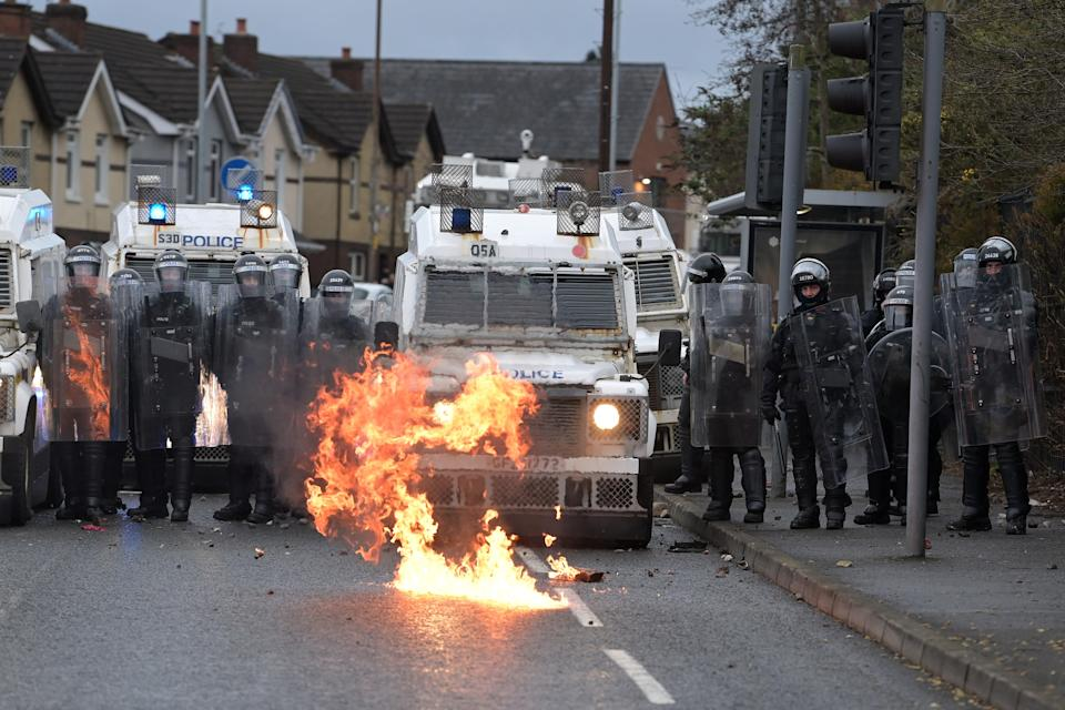 April 2021: nationalists attack police on Springfield Road just up from Peace Wall interface gates, which divide nationalist and loyalist communities in BelfastGetty