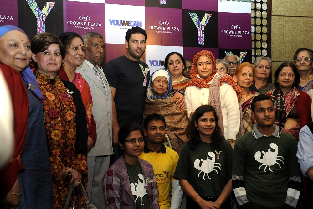 GURGAON, INDIA - FEBRUARY 4: Cricketer and cancer survivor Yuvraj Singh with other cancer survivors at a program on World Cancer Day on February 4, 2013 in Gurgaon, India. (Photo by Parveen Kumar/Hindustan Times)