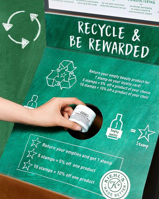 """<p>What's better than helping the planet via your beauty stash? Being rewarded for it at the same time. Skincare legends Kiehl's have relaunched their Recycle & Be Rewarded scheme in association with Terracycle which encourages customers to bring their Kiehl's empties to their local shop and pop them in the new recycling stations. The best bit? You can choose which charity you want to support with your recycling, with £1 for every kilo of packaging being donated. And it gets better. Get your hands on a loyalty card and every time you recycle products you'll earn discounts on the Kiehl's products you already love and use. </p><p><a href=""""https://www.instagram.com/p/CE11lmtDZ_8/?utm_source=ig_embed&utm_campaign=loading"""">See the original post on Instagram</a></p>"""