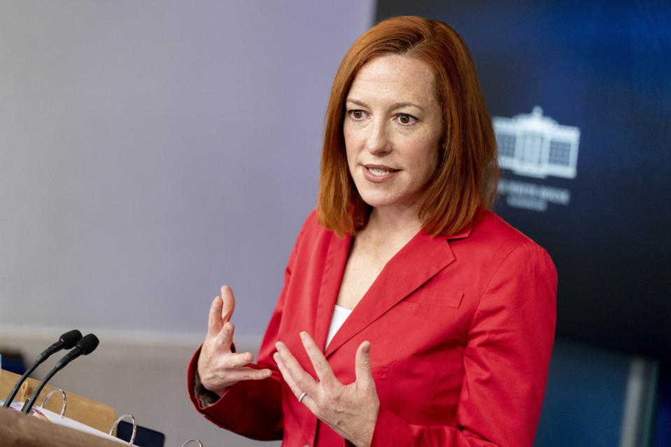 White House press secretary Jen Psaki speaks during a press briefing at the White House, Thursday, March 11, 2021, in Washington. (AP Photo/Andrew Harnik)