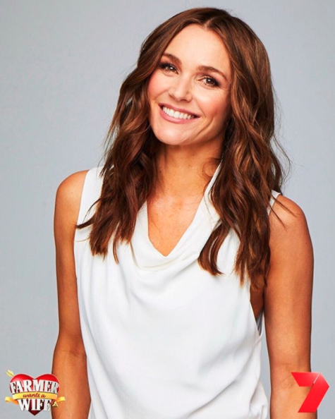 Natalie Gruzlewski in a white top in a promotional image for Farmer Wants a Wife 2020