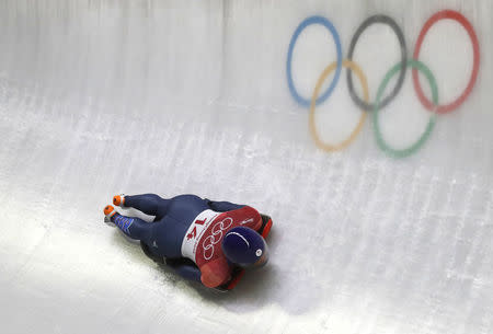 Pyeongchang 2018 Winter Olympics Skeleton - Pyeongchang 2018 Winter Olympics - Women's Finals - Olympic Sliding Centre - Pyeongchang, South Korea - February 17, 2018 - Lizzy Yarnold of Britain competes. REUTERS/Arnd Wiegmann