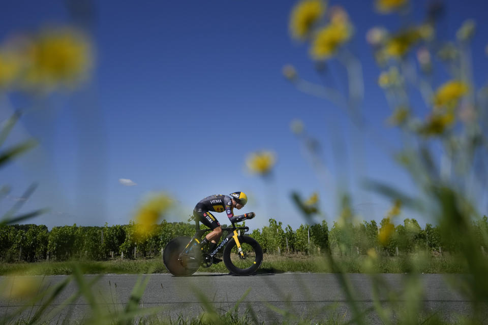 Belgium's Wout Van Aert competes during the twentieth stage of the Tour de France cycling race, an individual time-trial over 30.8 kilometers (19.1 miles) with start in Libourne and finish in Saint-Emilion, France, Saturday, July 17, 2021. (AP Photo/Christophe Ena)