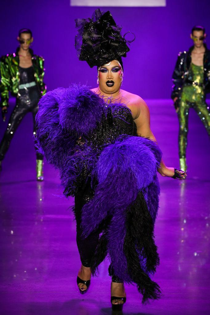 <p>YouTube makeup artist and beauty guru, Patrick Starrr, struts the catwalk at the Blonds' Disney villains-inspired show during New York Fashion Week. (Photo: Getty Images) </p>
