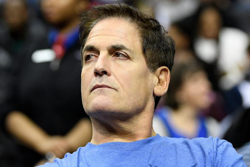 Dallas Mavericks owner Mark Cuban watches during the second half of an NBA basketball game between the Washington Wizards and the Dallas Mavericks, Wednesday, March 6, 2019, in Washington. The Wizards won 132-123. (AP Photo/Nick Wass)