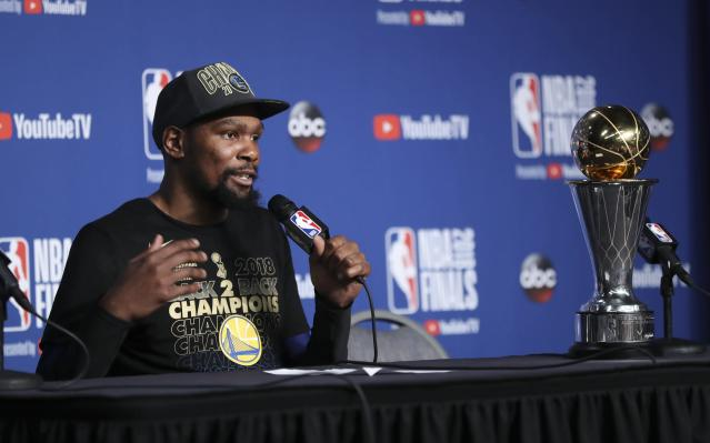 Kevin Durant was named Finals MVP for the second year in a row, the sixth player to accomplish the feat.
