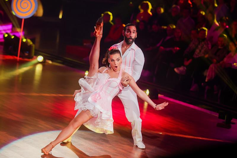 """06 March 2020, North Rhine-Westphalia, Cologne: Lili Paul-Roncalli, artist, and Massimo Sinato, professional dancer, dance in the RTL dance show """"Let's Dance"""" at the Coloneum. Photo: Rolf Vennenbernd/dpa (Photo by Rolf Vennenbernd/picture alliance via Getty Images)"""