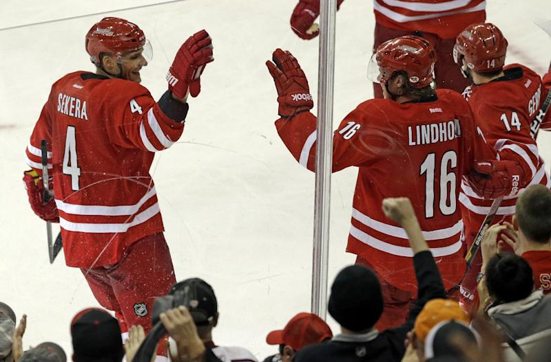 Carolina Hurricanes' Andrej Sekera (4), of Slovakia, and Elias Lindholm (16), of Sweden, celebrate Lindholm's game-winning goal against the San Jose Sharks during the third period of an NHL hockey game in Raleigh, N.C., Friday, Dec. 6, 2013. Carolina won 5-3. (AP Photo/Gerry Broome)