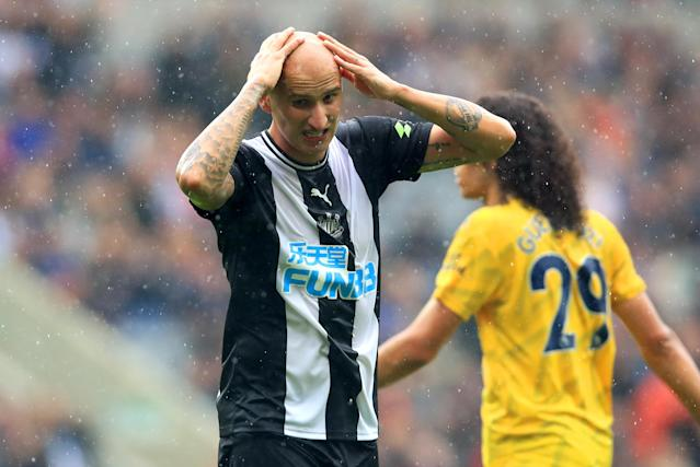 Newcastle United's Jonjo Shelvey reacts after his effort struck the post. (Photo by Owen Humphreys/PA Images via Getty Images)