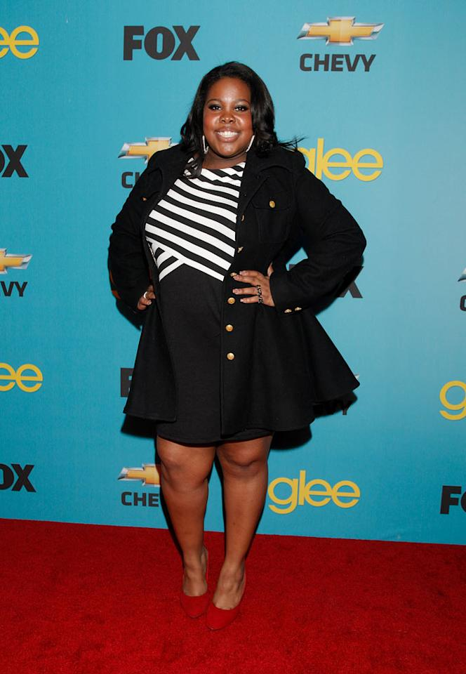 """<a href=""""/amber-riley/contributor/2430953"""">Amber Riley's</a> (""""Mercedes Jones"""") arrives at Fox's <a href=""""/glee/show/44113"""">""""Glee""""</a> Spring Premiere Soiree at Chateau Marmont on April 12, 2010 in Los Angeles, California."""