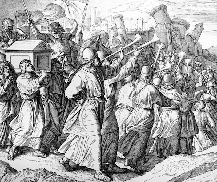 "<span class=""caption"">Trumpeting the past? The Bible has conflicting narratives over the conquest of Canaan</span> <span class=""attribution""><a class=""link rapid-noclick-resp"" href=""https://commons.wikimedia.org/wiki/File:JSC_the_battle_of_Jericho.png"" rel=""nofollow noopener"" target=""_blank"" data-ylk=""slk:Wikimedia Commons"">Wikimedia Commons</a></span>"