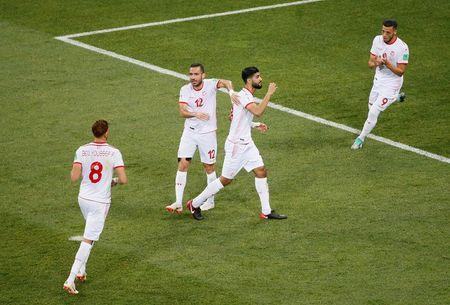 Soccer Football - World Cup - Group G - Tunisia vs England - Volgograd Arena, Volgograd, Russia - June 18, 2018 Tunisia's Ferjani Sassi celebrates scoring their first goal with team mates REUTERS/Gleb Garanich