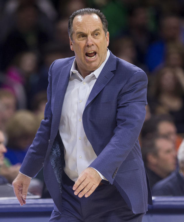 Notre Dame head coach Mike Brey yells to players during the first half of an NCAA college basketball game against Syracuse Saturday, Jan. 5, 2019, in South Bend, Ind. Syracuse won 72-62. (AP Photo/Robert Franklin)