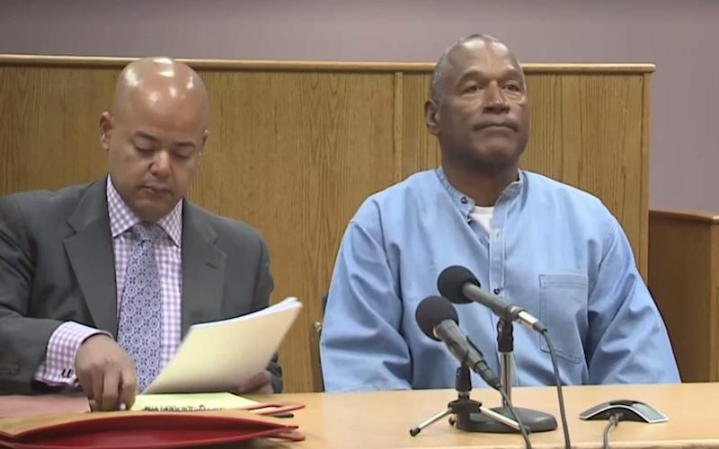 OJ Simpson at his parole hearing.