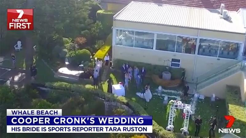 Rushton arrives at the wedding. Pic: CH7