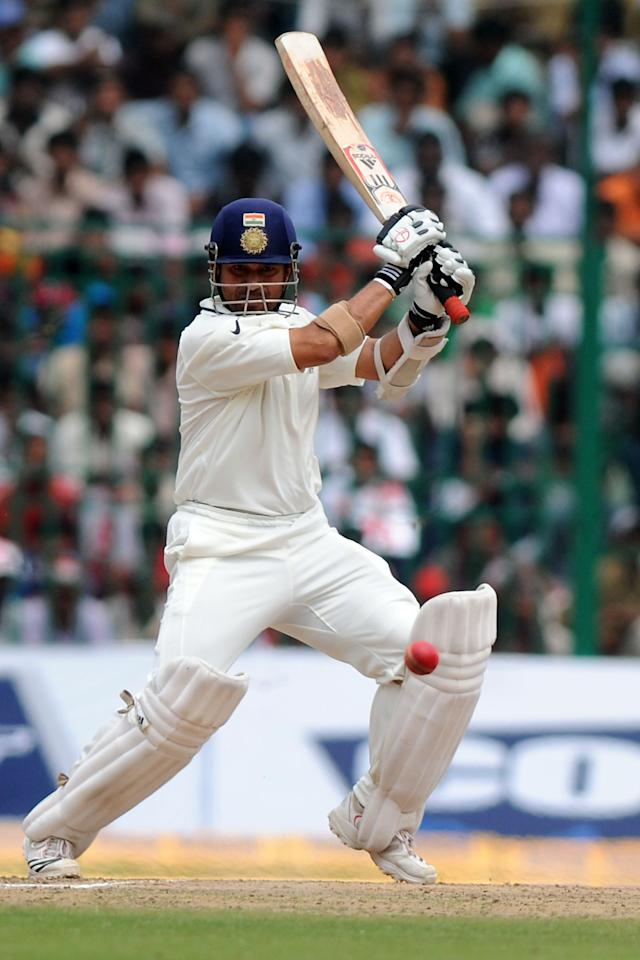 BANGALORE, INDIA - OCTOBER 13:  Sachin Tendulkar of India bats during day five of the Second Test match between India and Australia at M.Chinnaswamy Stadium on October 13, 2010 in Bangalore, India.  (Photo by Pal Pillai/Getty Images)