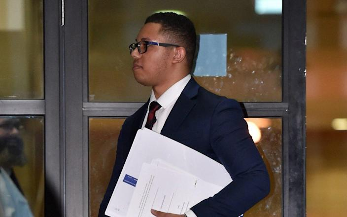 Grenadier Guard Kristopher James-Merrill outside Kingston Crown Court, south west London, where he is on trial alongside Grenadier Guard, Dillon Sharpe, and Marlon Wright, who are charged with a spate of robberies and attempted robberies across south west London in July 2018 - PA
