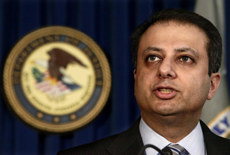 U.S. Attorney Preet Bharara speaks during a news conference on Tuesday, Feb. 8, 2011, in New York. Federal authorities revealed charges Tuesday against three hedge fund portfolio managers and a hedge fund analyst, describing in court papers the panic that ensued when two of them thought they faced the scrutiny of investigators.  (AP Photo/Bebeto Matthews)