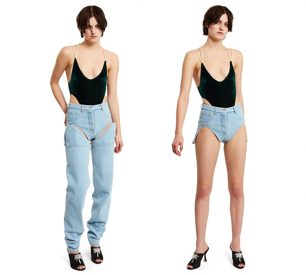 <p>Buzzy new brand Y/Project released a pair of jeans that transform into teeny tiny shorts. Simply unbutton the top half to go from work-appropriate to a summer vibe.<br /><i>[Photo: Opening Ceremony]</i> </p>