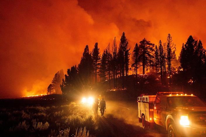 """Firefighters battle the Sugar Fire, part of the Beckwourth Complex Fire, burning in Plumas National Forest, Calif., on July 8.<span class=""""copyright"""">Noah Berger—AP</span>"""