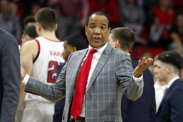 North Carolina State head coach Kevin Keatts protests after being called for a technical foul during the second half of an NCAA college basketball game against Florida State in Raleigh, N.C., Saturday, Feb. 22, 2020. (AP Photo/Karl B DeBlaker)