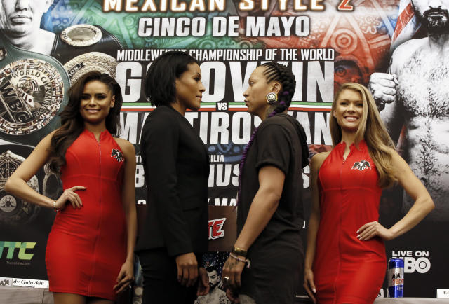 Norway's Cecilia Braekhus, center left, faces Kali Reis during a boxing news conference in Los Angeles, Wednesday, May 2, 2018. The pair are slated to fight during the boxing event at StubHub Center in Carson, Calif., on Saturday, May, 5. (AP Photo/Damian Dovarganes)