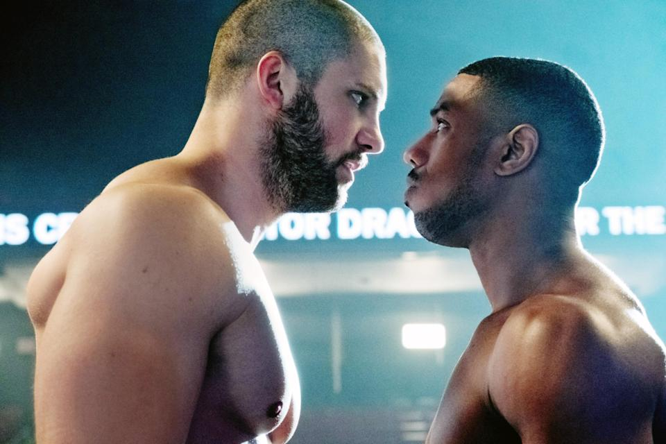 Viktor Drago (Florian Munteanu), left, and Adonis Creed (Michael B. Jordan) face off in <em>Creed II</em>. (Photo: Barry Wetcher/Metro Goldwyn Mayer Pictures/Warner Bros. Pictures/Courtesy Everett Collection)