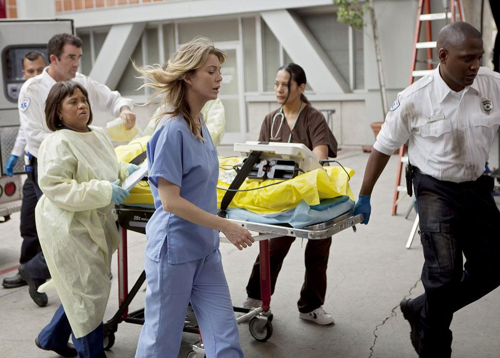 "GREY'S ANATOMY - ""Free Falling"" - In the first hour, ""Free Falling"" (9:00-10:00 p.m.), the fifth-year residents return for the first day of a year that will make or break their careers: Meredith faces the consequences of tampering with Derek's clinical trial and is terminated at the hospital; April tries to step up to the plate as Chief Resident in the wake of a giant sinkhole in the middle of Seattle; and Cristina and Owen are still at odds over their drastically different feelings for their unborn child. ""Grey's Anatomy"" returns for its eighth season with a two-hour event THURSDAY, SEPTEMBER 22 (9:00-11:00 p.m., ET) on the ABC Television Network. (ABC/RANDY HOLMES) CHANDRA WILSON, ELLEN POMPEO Grey's Anatomy"