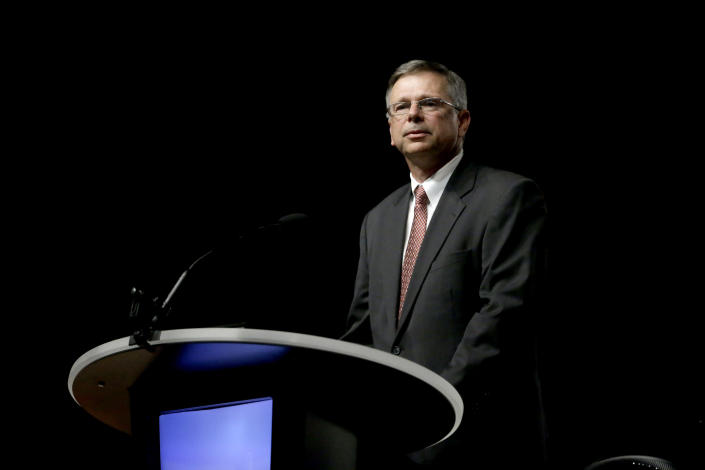 FILE - In this Tuesday, June 14, 2016 file photo, Pastor Marshall Blalock of First Baptist Church in Charleston, S.C., speaks during a meeting of the Southern Baptist Convention in St. Louis. Blalock serves on the recently formed Southern Baptist task force, set into motion in June 2021, charged with overseeing an investigation into how a top denominational committee handled sexual abuse. (AP Photo/Jeff Roberson, File)