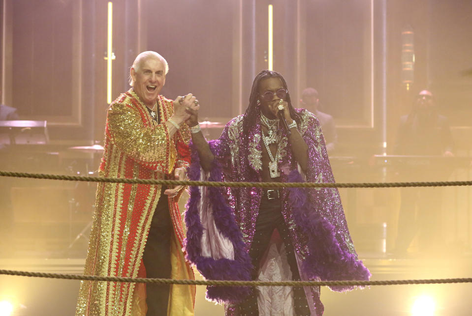 """Musical Guest Offset & Metro Boomin perform """"Ric Flair Drip"""" with Ric Flair on April 17, 2018. (Photo by: Andrew Lipovsky/NBC/NBCU Photo Bank)"""
