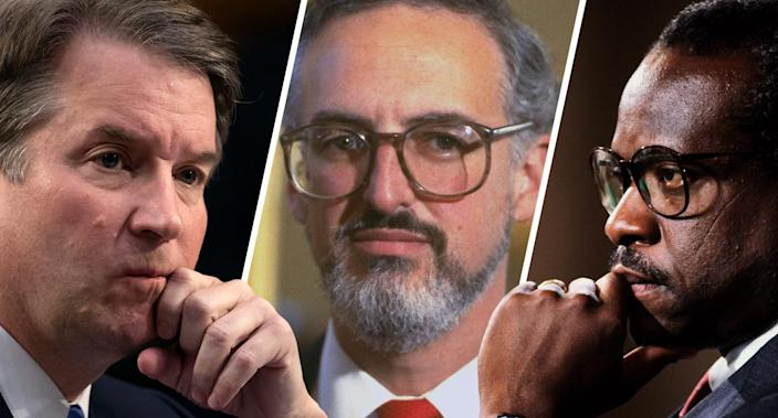 Brett Kavanaugh, Douglas Ginsburg and Clarence Thomas (Photos: Scott Applewhite/AP, Terry Ashe/LIFE Images Collection/Getty Images, Lee Corkran/Sygma via Getty Images)