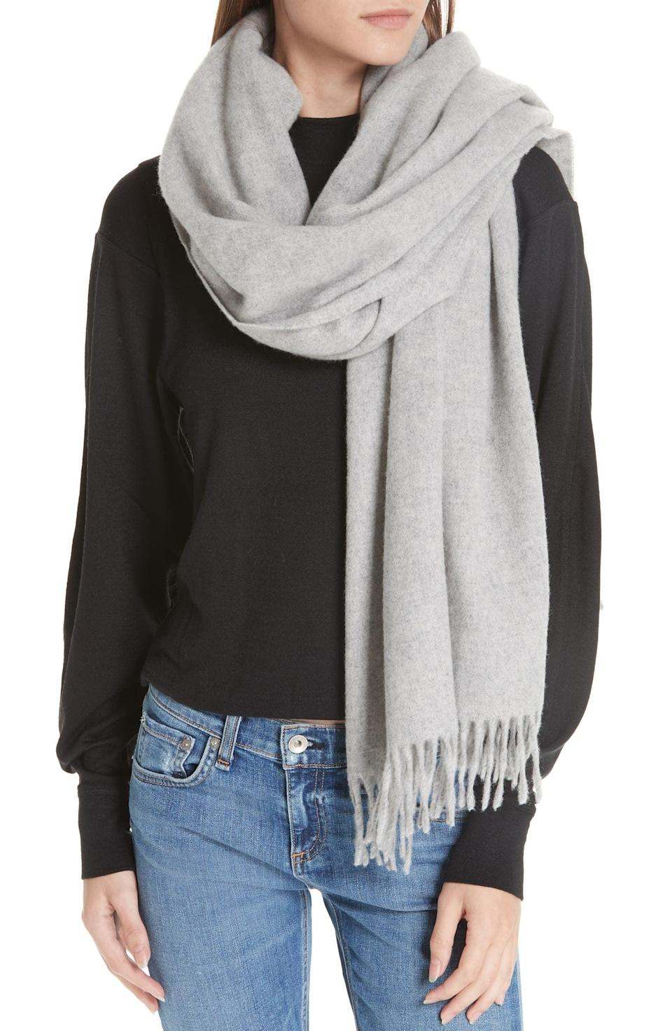 <p>They'll get all wrapped up in this <span>Rag &amp; Bone Classic Wool Scarf</span> ($195). We love the neutral light gray shade.</p>