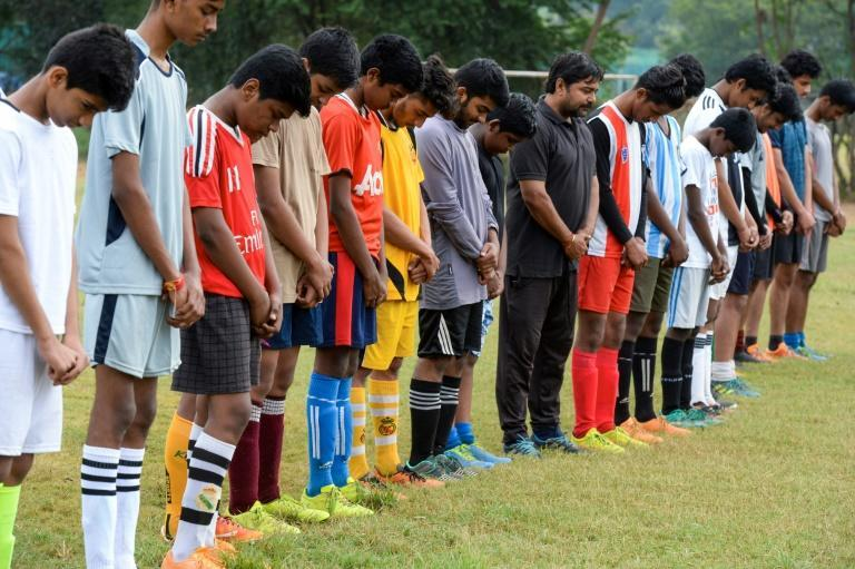 Young footballers in Secunderabad, in Andhra Pradesh, held a minute's silence for Maradona