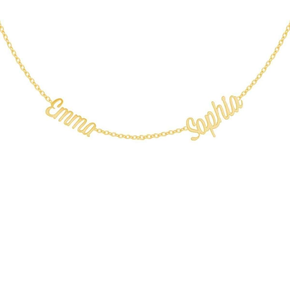 <p>If she already has a name in mind the <span>Deux Name Necklace</span> ($360) is a great gift. You can do the first and middle name, or any names that are meaninful.</p>
