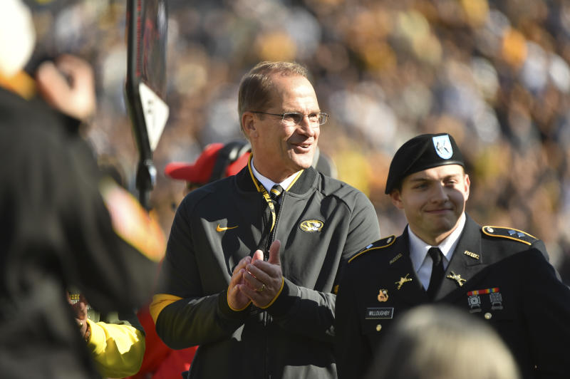 COLUMBIA, MISSOURI - NOVEMBER 16: University of Missouri athletic director Jim Sterk watches a game against the Florida Gators at Faurot Field/Memorial Stadium on November 16, 2019 in Columbia, Missouri.