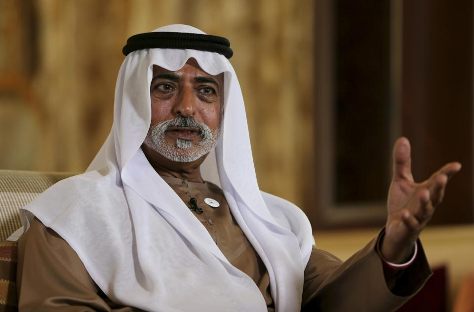 Sheikh Nahyan bin Mubarak Al Nahyan, the UAE Minister of Tolerance gives an interview to The Associated Press, in Abu Dhabi, United Arab Emirates, Thursday, Jan. 24, 2019. As the UAE prepares to host Pope Francis Feb. 3-5, the country's minister of tolerance says the first-ever papal visit to the Arabian Peninsula will contribute to building bridges in a region riven by political and sectarian divisions. (AP Photo/Kamran Jebreili)