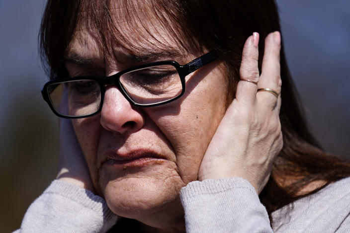 Patti Burt reacts during an interview in Cherry Hill, N.J., Wednesday, March 10, 2021. On May 26, 2020, Burt's granddaughter, 9-year-old Ava Lerario; her mother, Ashley Belson, and Ava's father, Marc Lerario, were found fatally shot inside their home. (AP Photo/Matt Rourke)