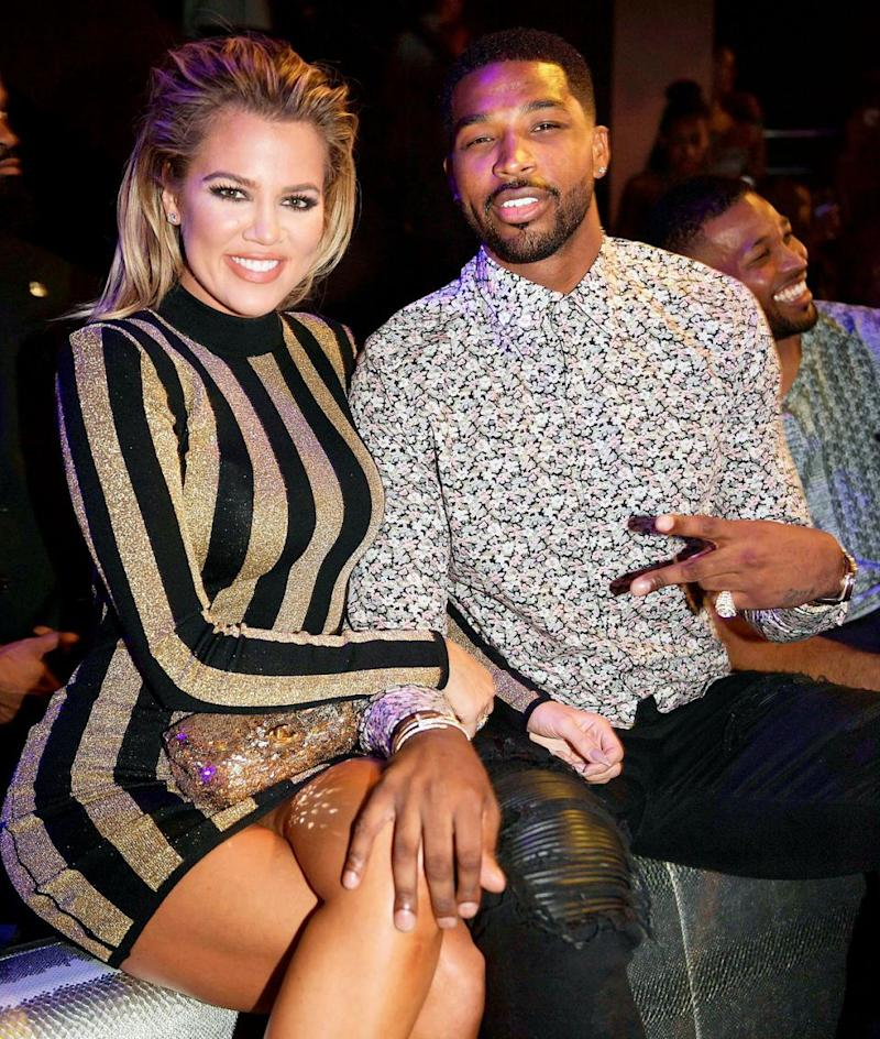 Khloe Kardashian and Tristan Thompson pose together at a fashion show in 2017. Source: Getty
