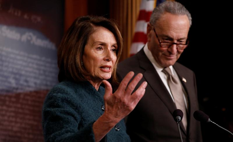 House Minority Leader Nancy Pelosi (D-Calif.) and Senate Minority Leader Chuck Schumer (D-N.Y.) at a news conference in March. They unveiled a slate of anti-corruption measures Monday.
