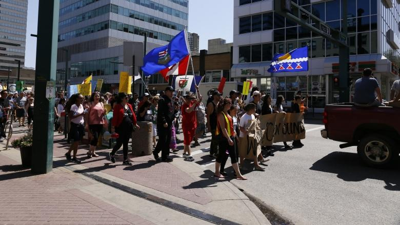 March in downtown Edmonton commemorates 50th anniversary of residential school closure
