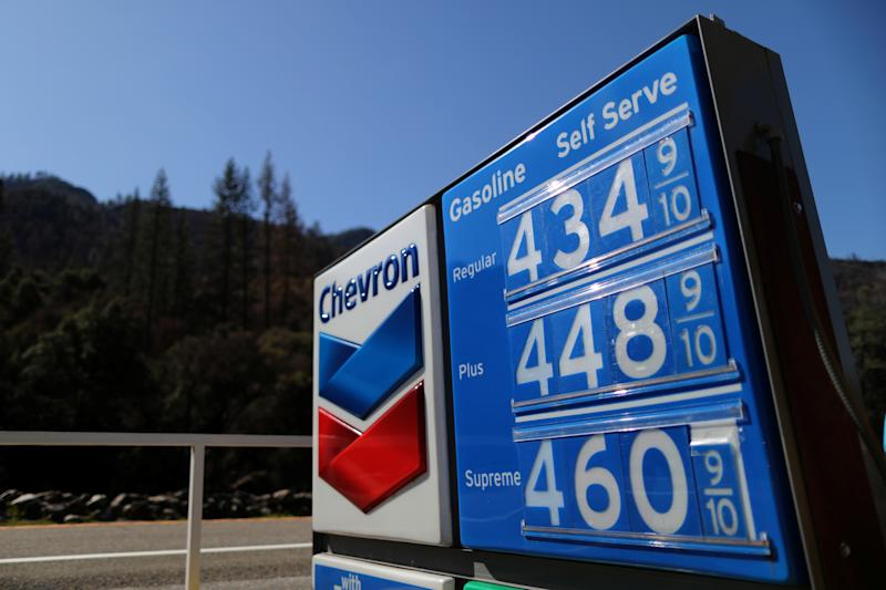 A sign displaying gas prices is seen outside Yosemite National Park, California, U.S., March 30, 2019. REUTERS/Lucy Nicholson