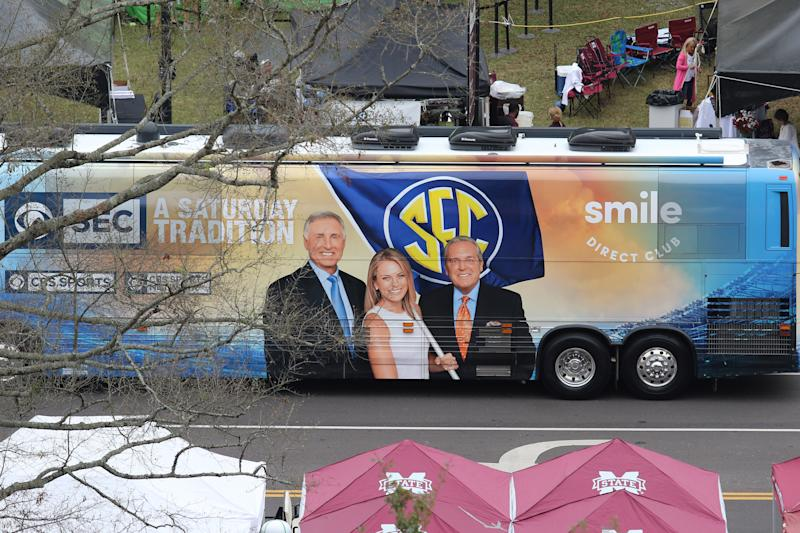 STARKVILLE, MS - OCTOBER 19: The SEC on CBS bus is parked outside the game between the LSU Tigers and the Mississippi State Bulldogs on October 19, 2019 at Davis Wade Stadium in Starkville, Mississippi. (Photo by Michael Wade/Icon Sportswire via Getty Images)