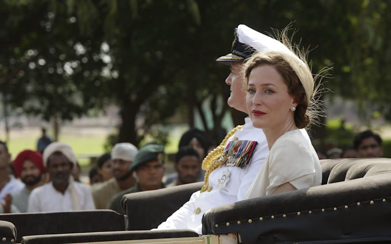 Gillian Anderson as Lady Mountbatten in the new film Viceroy's House, with co-star Hugh Bonneville - Credit:  Pathe UK