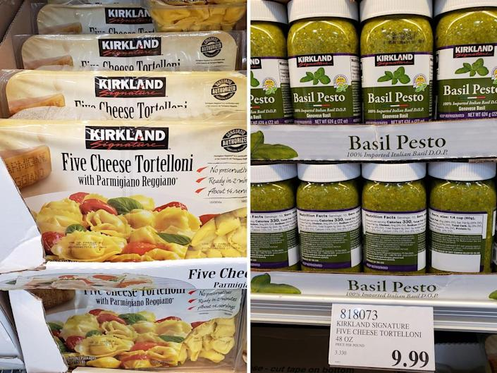 (left) bulk packages of cheese tortellini at costco (right) bulk jars of basil pesto at costco