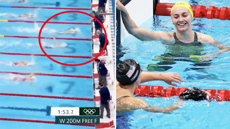 Ariarne Titmus (pictured right) celebrating with Katie Ledecky and (pictured left) winning the 400m freestyle in Tokyo.