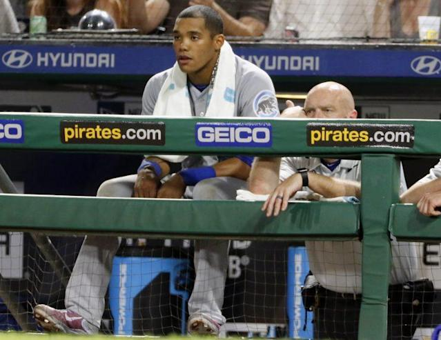 "Major League Baseball is looking into domestic abuse allegations against Cubs shortstop <a class=""link rapid-noclick-resp"" href=""/mlb/players/9604/"" data-ylk=""slk:Addison Russell"">Addison Russell</a>. (AP)"